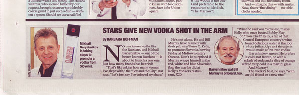 NY Post article announcing SLOVENIA VODKA launch party at Oceana Restaurant.