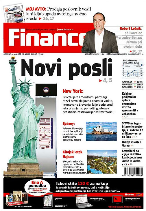 SLOVENIA VODKA news coverage in FINANCE magazine in Slovenia.